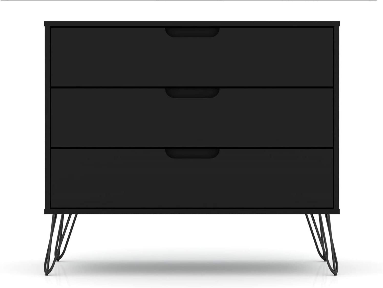 "Manhattan Comfort Rockefeller Mid-Century Modern 3 Drawer Bedroom Dresser, 35.24"", Black"