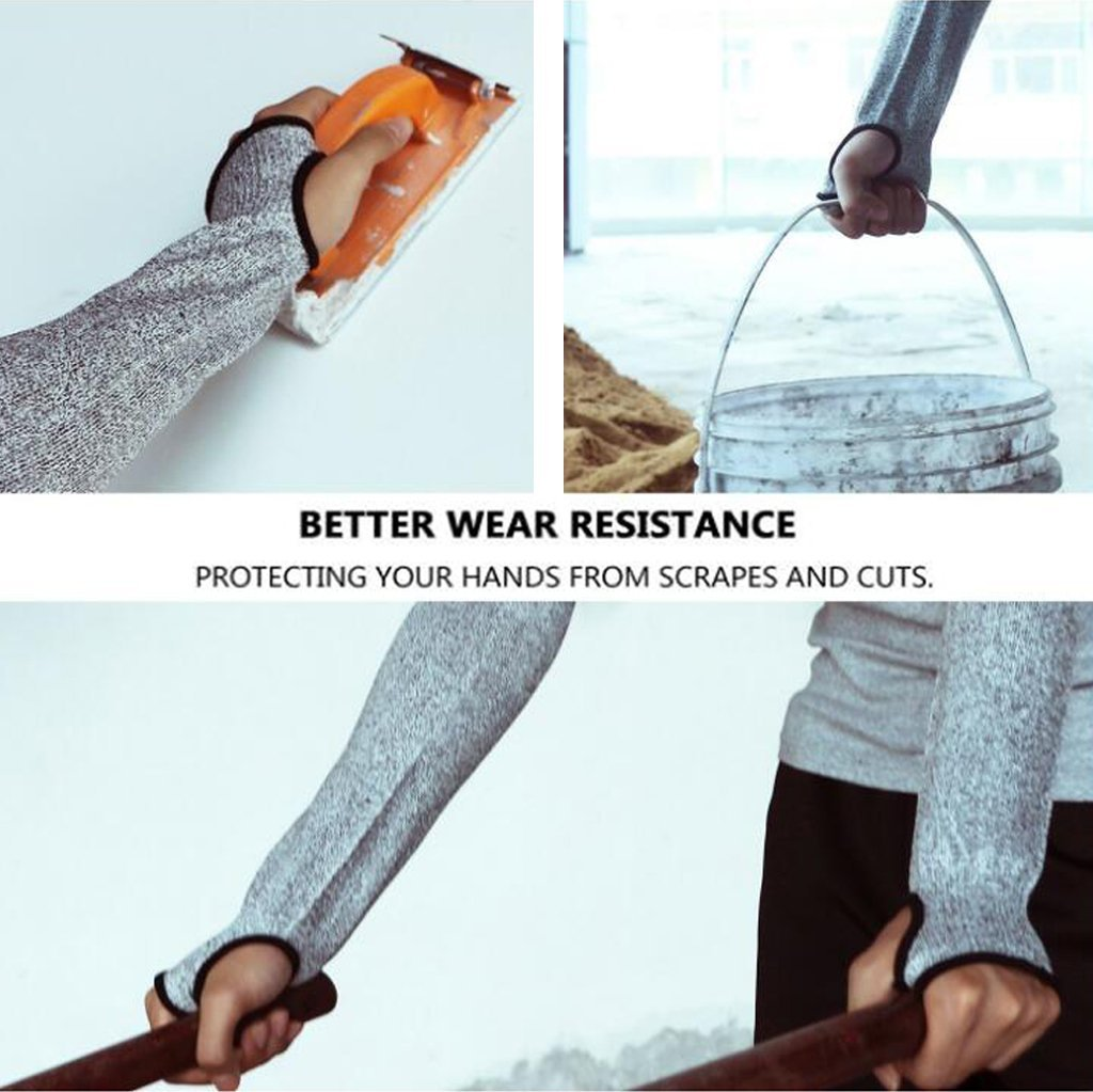 gris protecci/ón UV protecci/ón de nivel 5 1 par protecci/ón resistente a los cortes con ranura para el pulgar ayuda a prevenir rasgu/ños Mangas de punto resistentes a los cortes 2 piezas