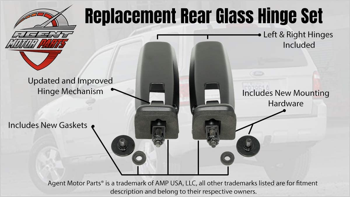 2012 2011 Hinge Rear Hatch Liftgate Glass /& Tailgate 2009 Mazda Tribute 2008 8L8Z78420A68D 2010 Compatible For Ford Escape Mercury Mariner Replaces 8L8Z78420A68C Rear Window Hinges Set