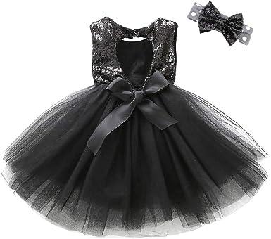 Toddler Baby Girls Birthday Wedding Party Dress Sleeveless Sequins Top Lace Tutu Skirt
