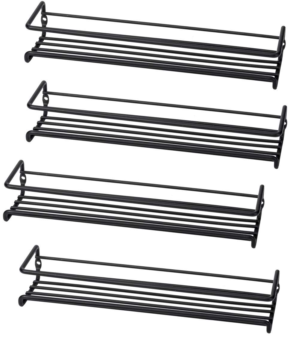 Set of 4 Wall-Mount Spice Rack Organizers - Metal Hanging Racks for Cabinet Door or Pantry Door- Over Stove, Kitchen Cupboard Or Under Cabinet - by Unum by Unum