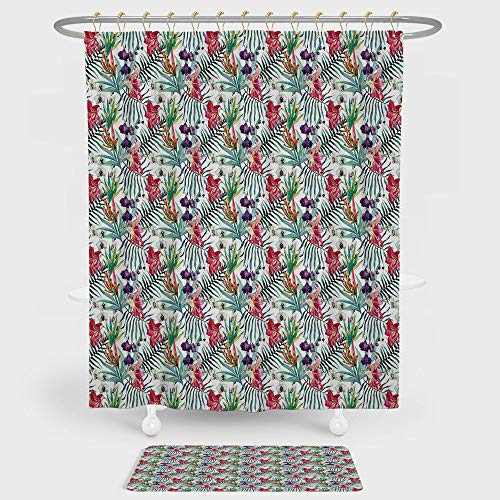 iPrint Watercolor Shower Curtain And Floor Mat Combination Set Tropical Hawaiian Nature Orchid and Lily with Green Leaves Exotic Jungle Flora Decorative For decoration and daily use Multicolor