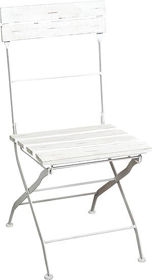 Set 2 sillas plegables en hierro y madera acabado blanco ...