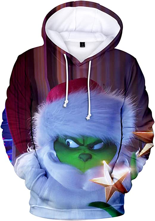 Imagen deHUASON Navidad Hoodie Hombre Mujer Creative Grinch Sudadera con Capucha Santa Claus Ropa Deportiva Colorida de Manga Larga