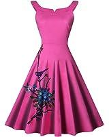 WoooInn Summer Women Dress Vestidos Femininos Vintage Style Women Robe Floral Embroidery 50S 60S Swing Dress
