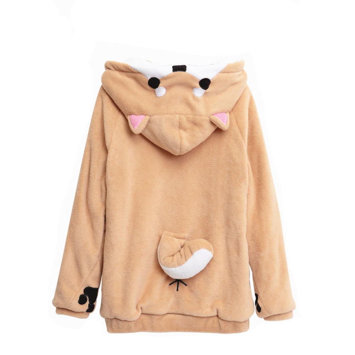 5f44829f3a33ff CORIRESHA Cute Coral Celvet Long Sleeve Shiba Inu Dog Home Wear Clothes Hoodie  Sweatshirt with 3D Dog Ear and Dog Tail at Amazon Women s Clothing store