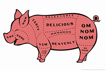 amazon com tasty pig cuts butcher chart humor poster 18x12 inch rh amazon com Pork Parts Diagram Pork Butcher Diagram