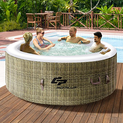 (Goplus 4 Person Inflatable Hot Tub Outdoor Jets Portable Heated Bubble Massage Spa Set w/Filter & Repair Kit (Coffee))