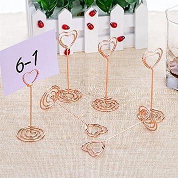 Yalulu 12pcs Rose Gold Herz Form mit Halterung St/änder Tisch-Halter- Papier-Clips f/ür Hochzeit Dekoration rose gold