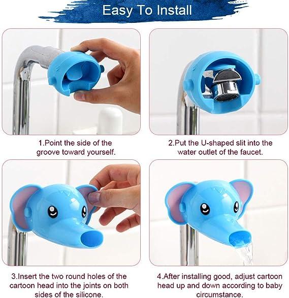 colore: giallo e blu per bambini Isuper estensore per rubinetto in stile cartone animato accessorio per il bagno