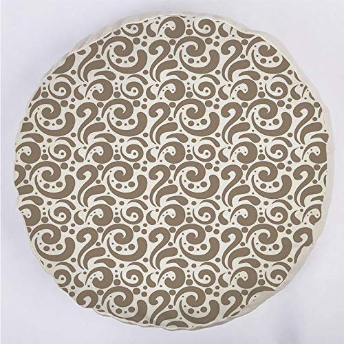 YOUWENll Round Decorative Throw Pillow Floor Meditation Cushion Seating/Swirled Curved Bold Lines Brushstrokes Big and Little Polka Dots Circular Abstract/for Home Decoration 17