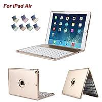 Dingrich iPad Air tastiera, cassa tastiera Slim Bluetooth Clamshell supporto integrato con pellicola di protezione e Stylu Folio cover con 7 colori LED retroilluminato per iPad Air