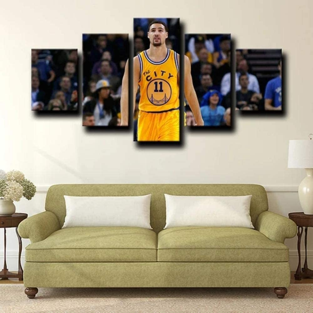 5 Piece Wall Art Modern Golden State Warriors Guard Frey Klay Thompson Abstract Canvas Print Decor Artwork Picture Painting for Bedroom Living Room Bathroom Office Home Decoration