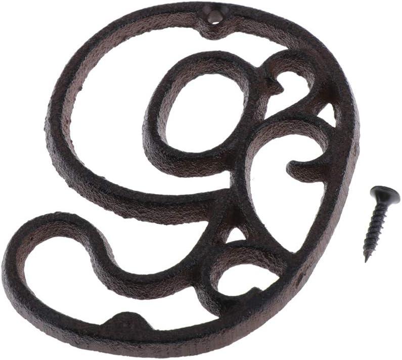 F Fityle Numero Porte Panneau en Fer Forg/é pour Home Street 0-9 num/éro 1