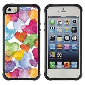 Híbridos estuche rígido plástico de protección con soporte para el Apple iPhone 5 / 5S - watercolor white colorful