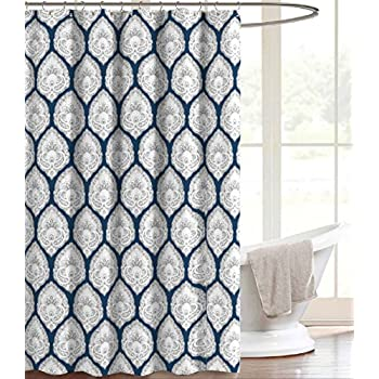 Navy Blue Grey Canvas Fabric Shower Curtain Paisley Floral Print In Damask Design 70