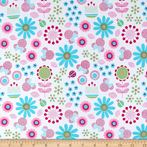 Springs Creative Products Disney Minnie with Flowers White Fabric by The Yard