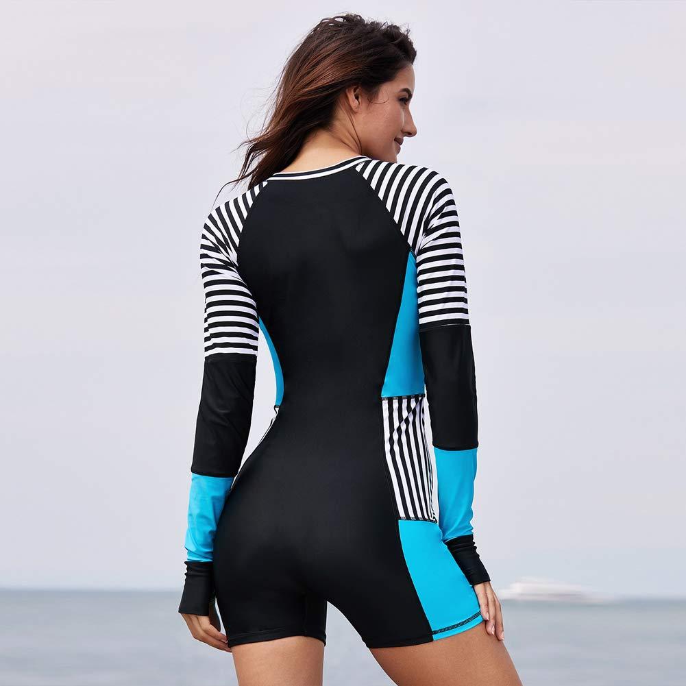DSHT Women Long Sleeve Rashguard One Piece Zip UV Protection Surfing Swimsuit