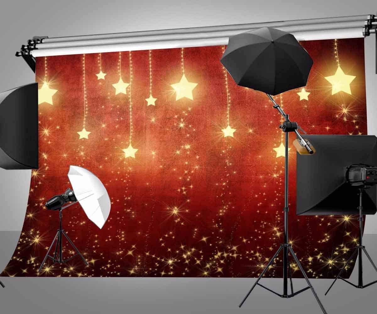 SZZWY 7X5ft Golden Glittering Stars Background Red Light Photography Background for Photo Video Studio Props LYGE517