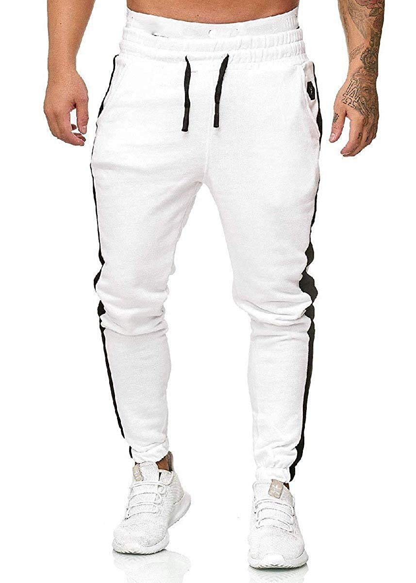 CuteRose Men Solid-Color Baggy with Side Taping Relaxed-Fit Training Pants