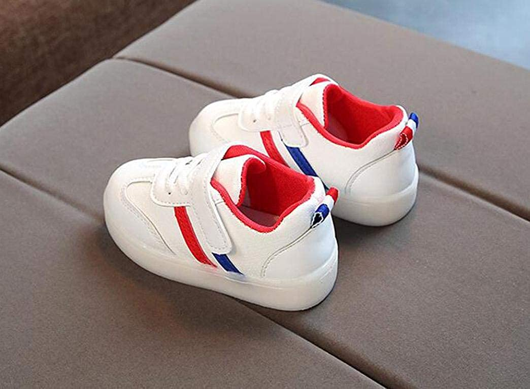 HOMEBABY Toddler Kids Light Up Trainers Striped Infant Unisex Baby Girls Boy Casual Sport Running LED Luminous Shoes Sneakers Halloween Gift