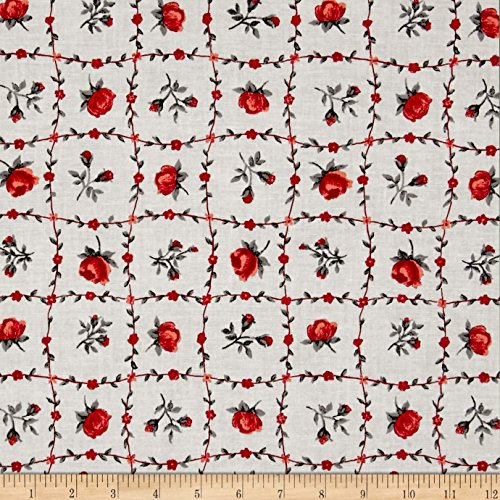 Santee Print Works Botanical Garden Floral Red Fabric by The Yard - Botanical Print Fabric