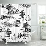 Black Toile Shower Curtain Emvency Fabric Shower Curtain Curtains with Hooks Black Classic with Old Town Village Scenes Countryside Life in Toile De Jouy Style Beige and Red Color Black 72