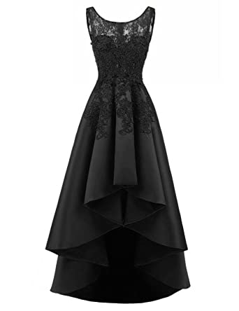 OYISHA Womens Lace Evening Prom Dresses High Low Formal Gowns Black 2
