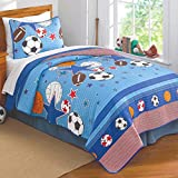 PEM America Sports and Stars Quilt with Pillow Sham - Full or Queen