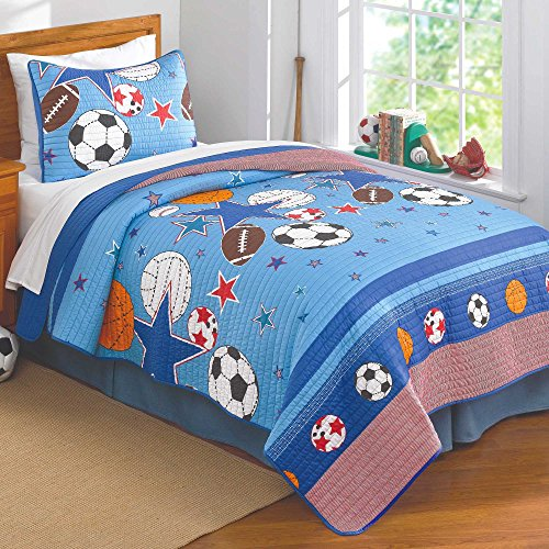 PEM America Sports and Stars Quilt with Pillow Sham - Full or Queen by PEM America