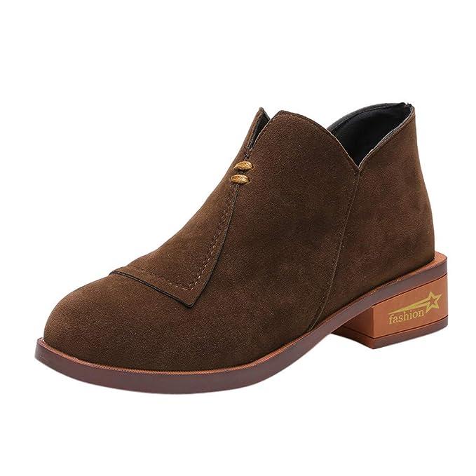 Tacón 4cm Ladies Ankle Boots Botines Moda para Mujeres Tacón Cuadrado Zapatos de Mujer Señoras Martín