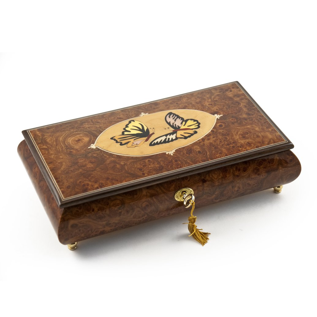 Handcrafted 30 Note Wood Tone Twin Butterfly Inlay Music Jewelry Box - Many Songs Available - from This Moment On (Shania Twain)