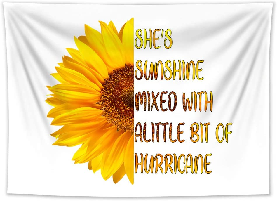 HVEST Sunflower Tapestry Wall Hanging Half Flower Half Words Wall Tapestry White and Yellow Flower Tapestry Floral Sunflower Backdrop for Bedroom Living Room Dorm Party Decor, 60Wx40H inches
