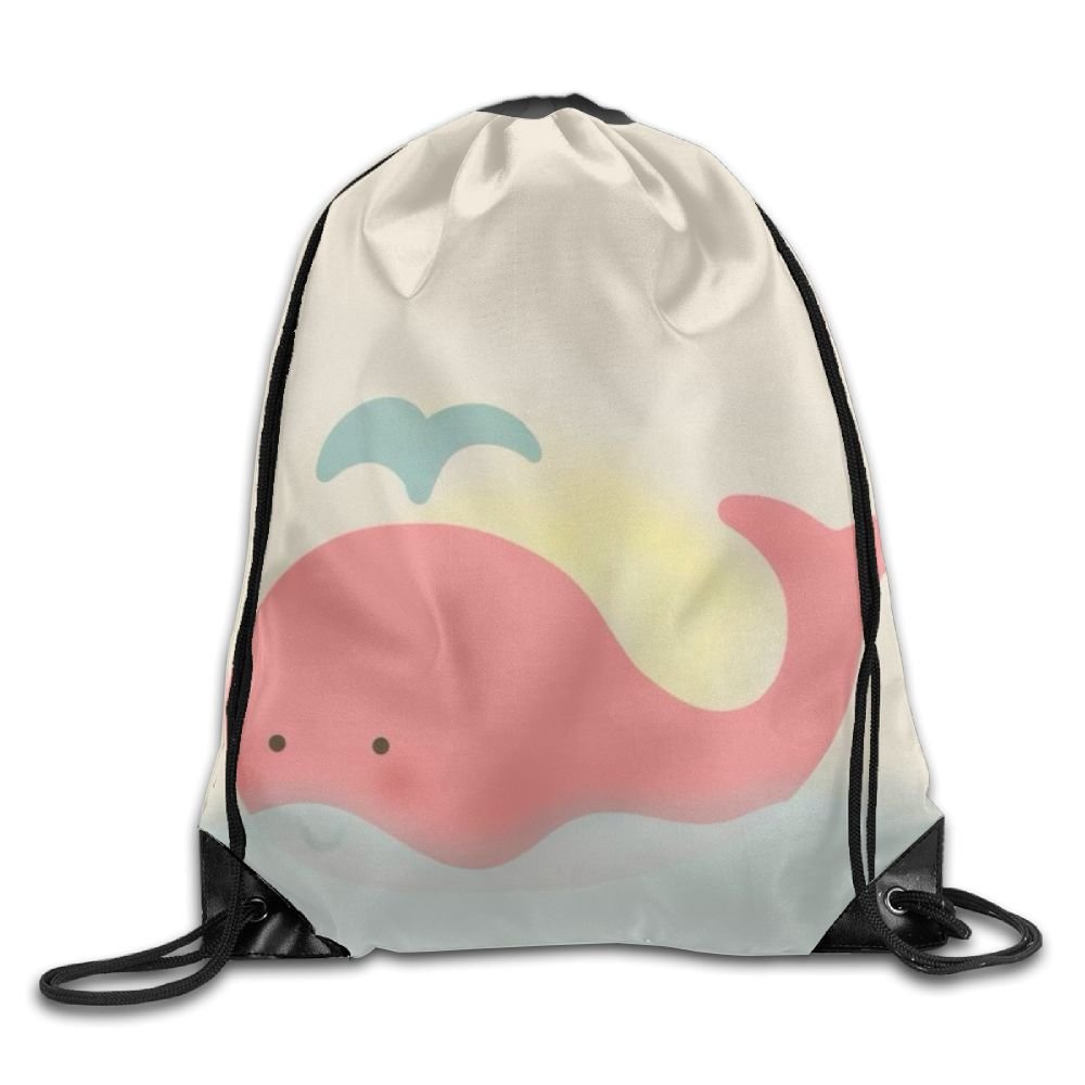 Pink Whale Drawstring Backpack Rucksack Shoulder Bags Training Gym Sack For Man And Women