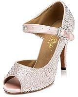 Dayiss Damen Latein Schuhe Tanzschuhe Peep Zehen Satin Strass Stiletto Pumps Damen Sandalen Brautschuhe
