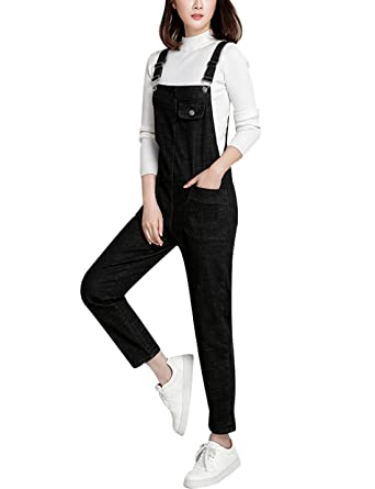 ac32ff093dd3 Amazon.com  Lentta Women s Loose Baggy Denim Bib Harem Overalls ...