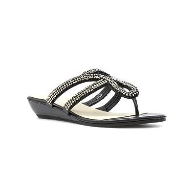 7b9ad06a85 Lilley Womens Black Diamante Wedge Toe Post Sandal - Size 9 UK - Black