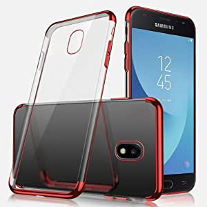SAMSUNG J5 PRO COVER Ultra-thin Crystal Clear Shock Absorption Electroplating Transparent Bumper Silicone Gel Rubber Soft TPU Case RED
