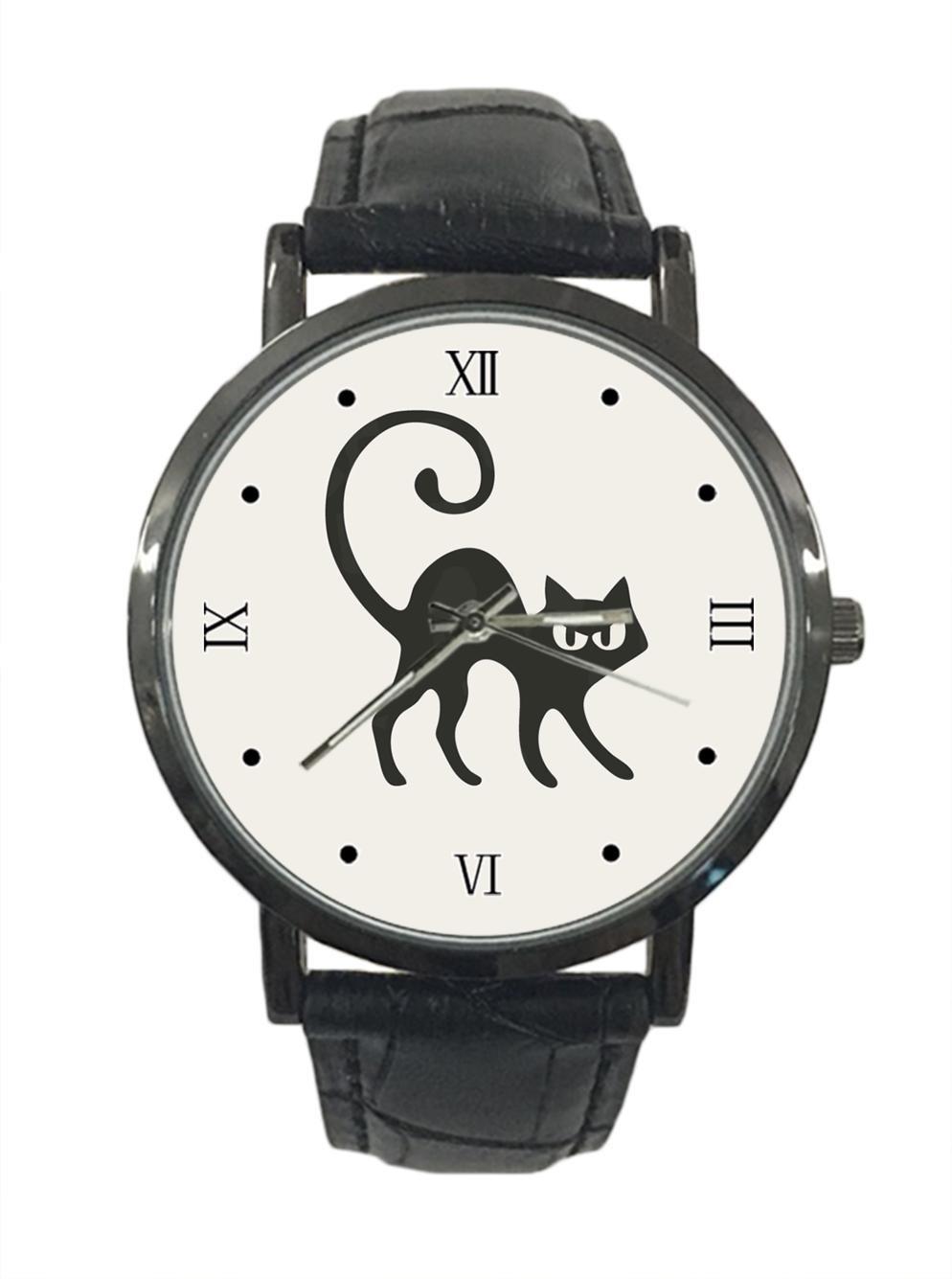 jkfgweeryhrt New Simple Fashion Halloween Cats Stainless Steel Leather Analog Quartz Sport Wrist Watch
