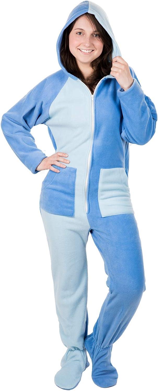 Kajamaz Cielo Azul Pijama Entero de Lana Unisex, Pijamas Mono con Pies para Adultos, Pijamas con Pies para Adultos y Niños en Azul Pastel