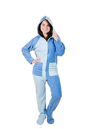 7bb06c3784 Kajamaz Himmelswolken Unisex Schlafanzug-Einteiler aus Fleece, Strampler  für Erwachsene mit Füßlingen, Einteiler