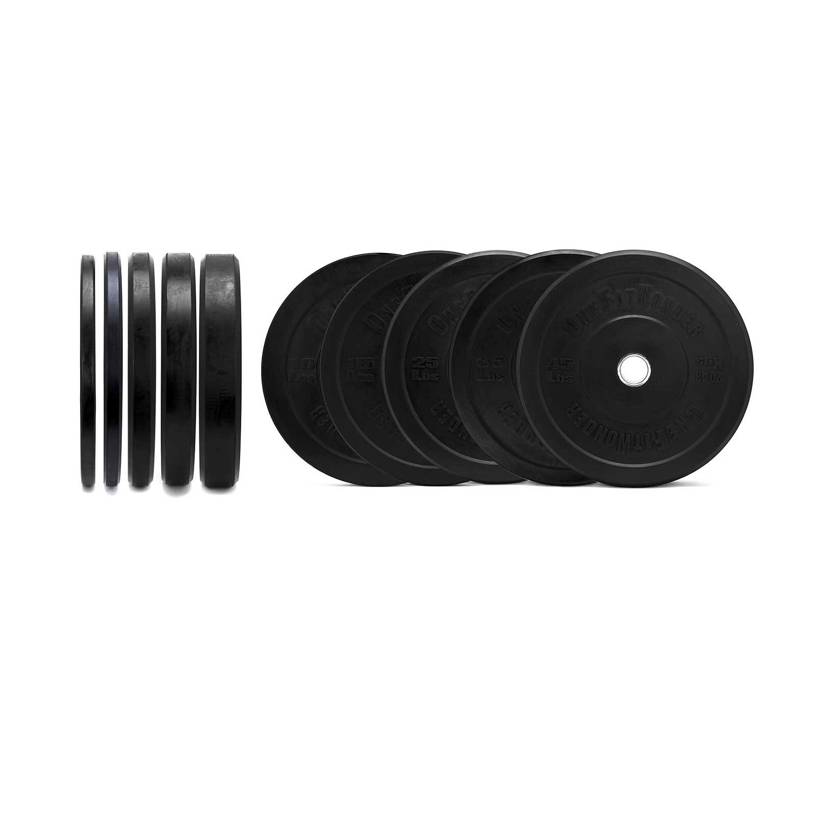 260 Lbs New Bumper Plates Set Olympic Plates Solid Plates Weight Plates for Crossfit Training Weight Lifting Gym By Onefitwonder Pair of 10 lbs,15 lbs,25 lbs,35 lbs,45 lbs by OneFitWonder