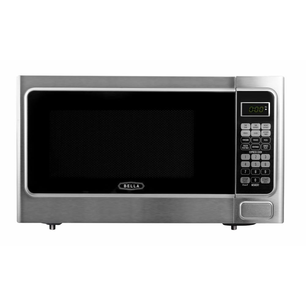 Bella 1.1 cu. ft. 1000-Watt Countertop Microwave Oven in Platinum with Stainless Steel
