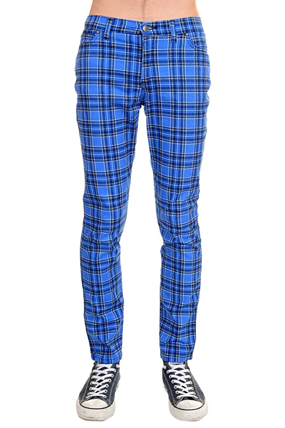 1960s Style Men's Clothing, 70s Men's Fashion Mens Indie Vintage Retro 60s 80s Mod Punk Royal Blue Tartan Skinny Jeans $44.95 AT vintagedancer.com
