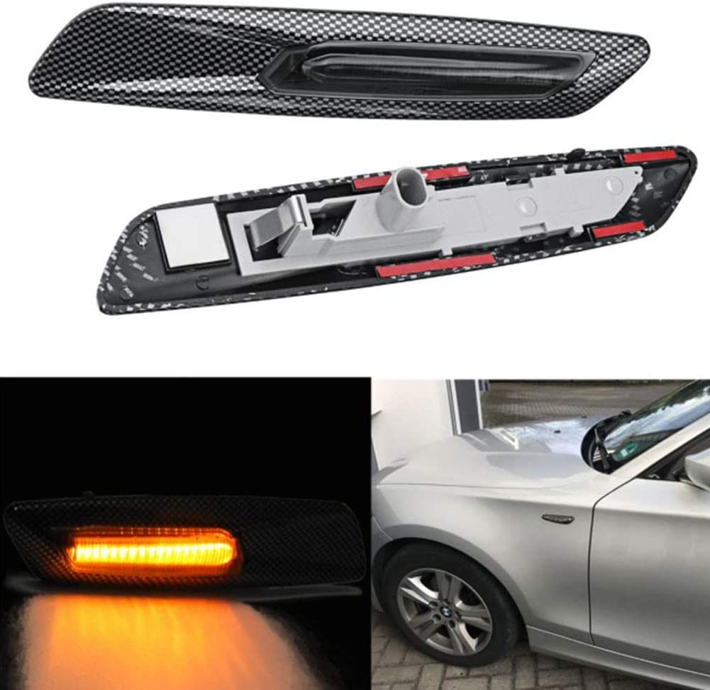 Pack of 2 as shown Turn Signal Side Marker Light,Carbon Fieber Indicator Lens Lamp For BMW 1 3 5 Series E39 E60 E6,LED Dynamic Sequential Blink Waterproof