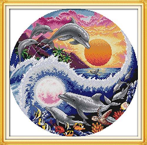 - Eafior DIY Cross Stitch Kits Handmade Needlework Embroidery Kits Sun and moon dolphins printed design Home Decoration Wall Decor 60x60cm(No frame)