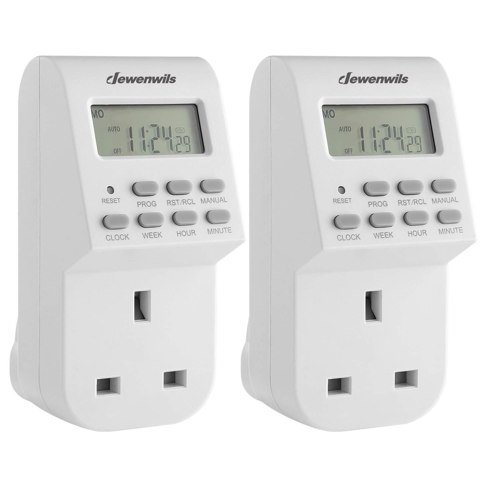 DEWENWILS Digital Lamp Timer Socket Plug, 20 ON/Off Weekly Settings Electrical Plug in Light Timer Switch for Christmas Light,Coffee Machine,Home Appliances,CE Listed