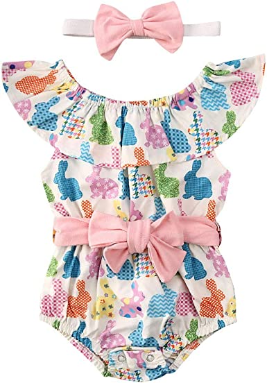 Newborn Easter Bunny Clothes Baby Girl Toddler Romper Bodysuit Playsuit Outfits