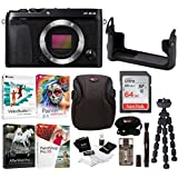 Fujifilm X-E3 Mirrorless Digital Camera (Body, Black) w/BLC Leather Case, 64GB Memory Card & Editing Software Bundle