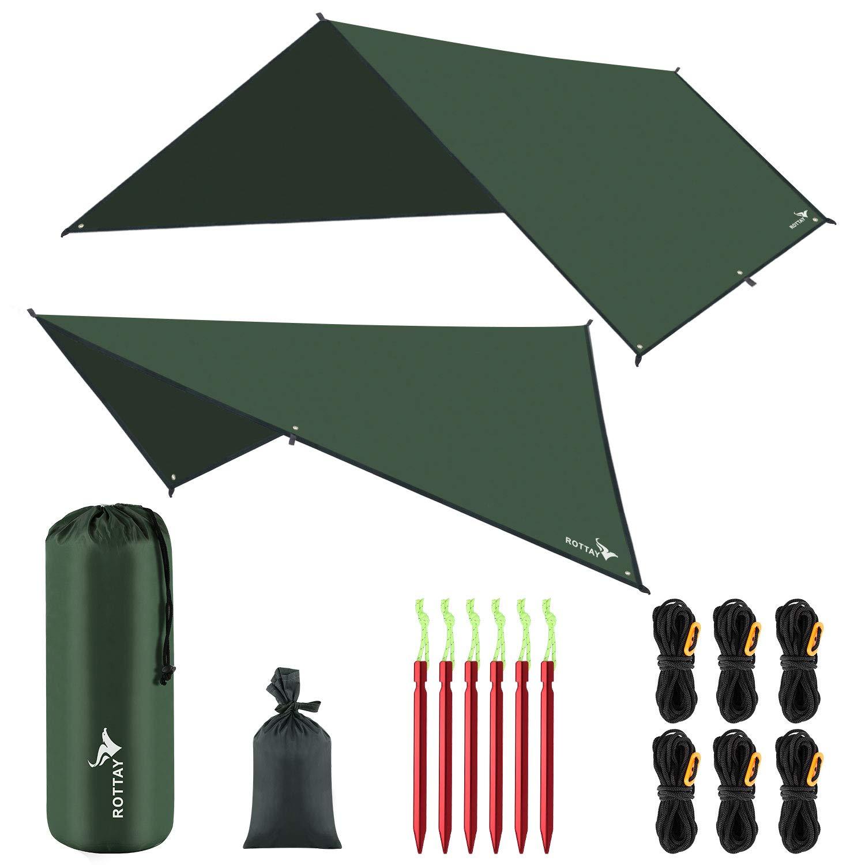 Rottay Waterproof Camping Tarp, Picnic and Beach Mat,Tent Footprint, and Sunshade,Hiking (Dark Green 10' x10') by Rottay